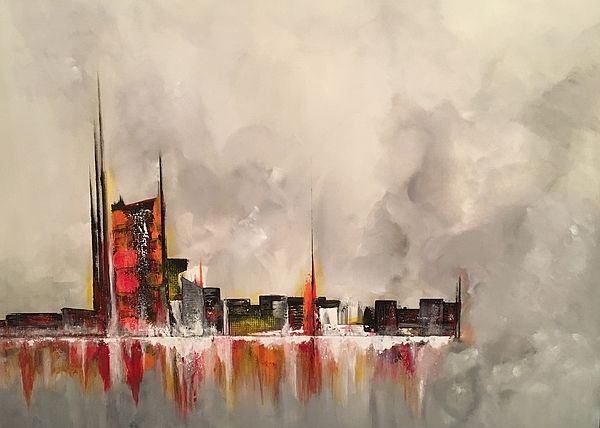 Futuristic painting and concern for the future by Soraya Silvestri