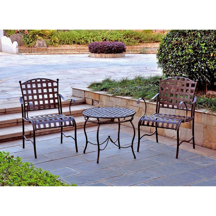 Reg $379, Sale $285.  Bring some Southwestern seasoning to your outdoor space with the Santa Fe 3-Piece Patio Bistro Set. A striking silhouette is cut by the bistro patio set which features an understated, yet bold design. The casual sophistication of this patio set is ideal for balconies, corners or garden hideaways. Plus, this outdoor dining set is made to last with sturdy, all-weather steel.