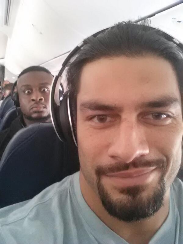 Plane selfie with Roman Reigns & Big E. Langston