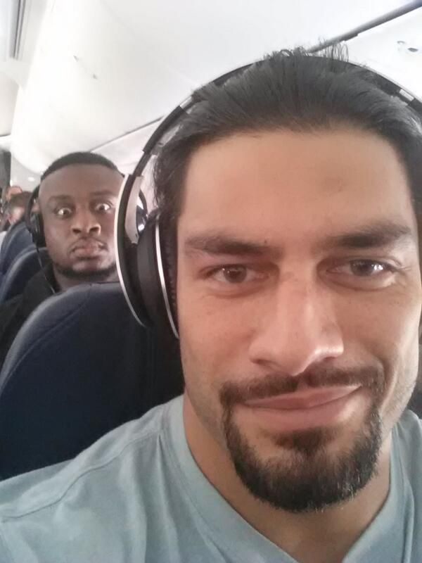 Plane selfie with Roman Reigns & Big E. Langston