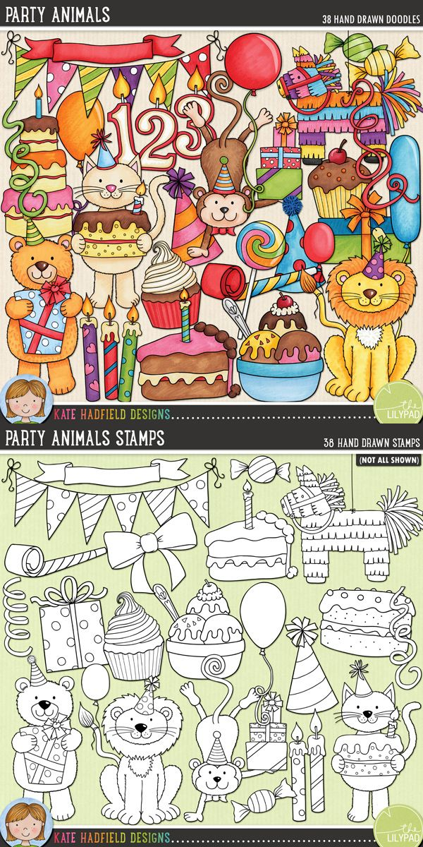 Birthday party digital scrapbooking elements | Cute birthday clip art | Hand-drawn illustrations for digital scrapbooking, crafting and teaching resources from Kate Hadfield Designs! Click through to see projects created using these illustrations!