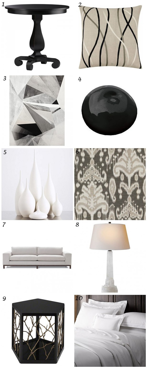 Home #decor #inspiration: Everything black and white! Highlights include the Dorada side table with branches, the Ethan Allen jhett pewter fabric and that great artwork. #blackandwhite #whiteandblack