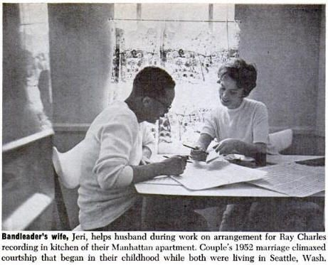 Bandleader = Quincy Jones. Jeri = Jeri Caldwell, his first wife. Arrangement = for the Ray Charles album Genius + Soul = Jazz, at the Van Gelder Studios in Englewood Cliffs (NJ), on 26 and  27 December 1960. From a feature article in Ebony, March 1961. Photo prob. by Howard Morehead.