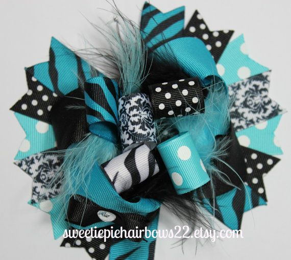 Turquoise and Black Over the Top Hair Bow Deluxe Boutique Hairbows Funky loopy. $10.99, via Etsy.