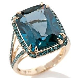 WANT SO BAD $569.90 Fine Jewelry with Carol Brodie London Blue Topaz and Blue Diamond 10K Ring. Double-prong-set for secure style, the piece's cushion-cut Brazilian London blue topaz lights a frame of black rhodium-accented, pavé-set round blue diamonds.