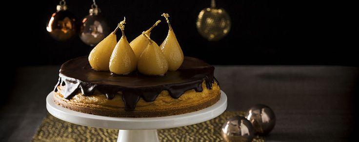 Christmas Pear, Cinnamon & Ginger Chocolate Glazed Cheesecake