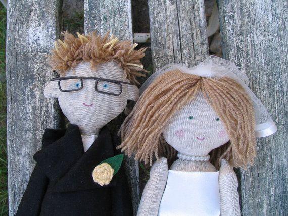 Custom wedding dolls rag dolls bride and groom rag by apacukababa