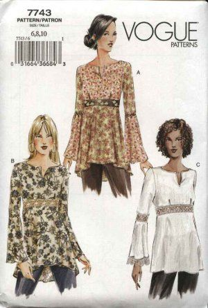 vogue patterns | Vogue Sewing Pattern 7743 Misses Size 12-14-16 Easy Baby Doll Pullover ...
