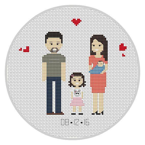 Family portrait PDF Cross stitch pattern Anniversary от Xrestyk