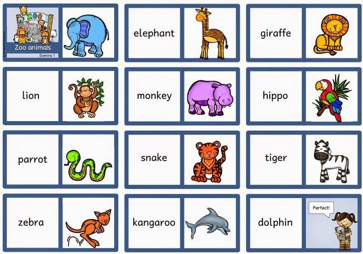 """Fünf Dominos """"Zoo animals""""   Passend zu den Flashcards """"Zoo animals"""" gibt es nun Dominos  zum Üben der Begriffe. Wenn man möchte, kann man ..."""