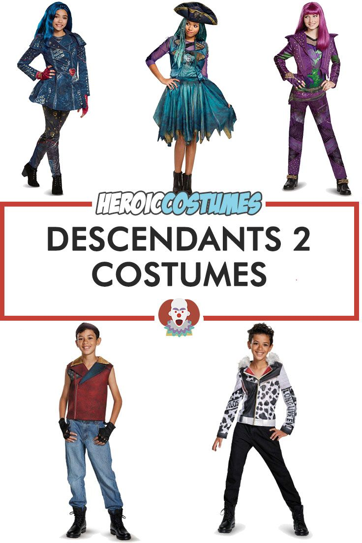 Descendants 2 costumes are here! Find out Descendants 2 costumes for Halloween 2017 including Mal costume, Evie costume, Uma costume, Jay costume, Carlos costume and many more.
