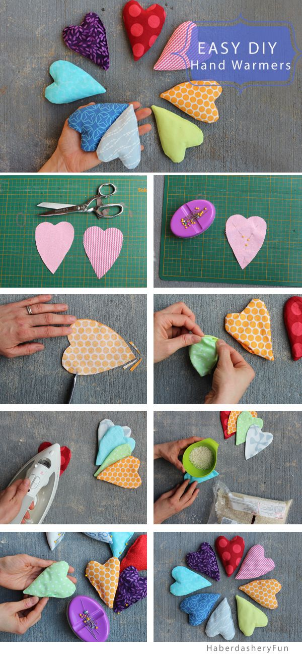 DIY.. Mini Heart Shaped Hand Warmers. Tutorial on the HaberdasheryFun blog.
