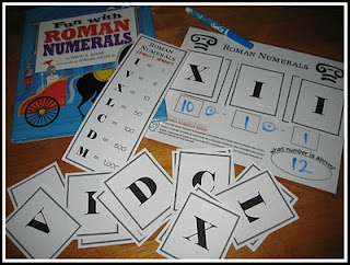 Free printable game for teaching the decoding of Roman Numerals.