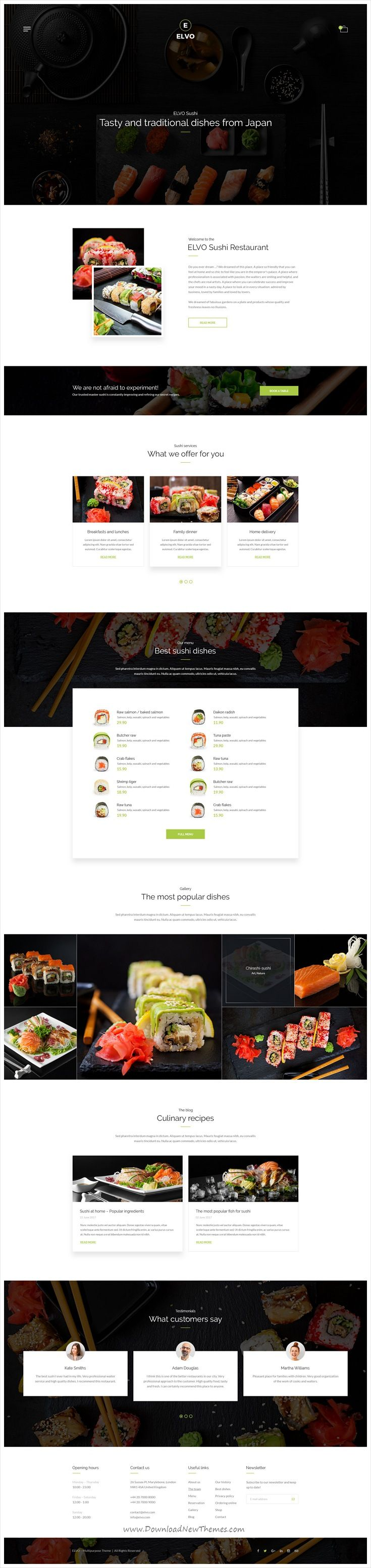 Elvo is clean and modern design multipurpose PSD template for #shusi #restaurant website with 20+ niche homepage layouts and 66 layered PSD pages download now..