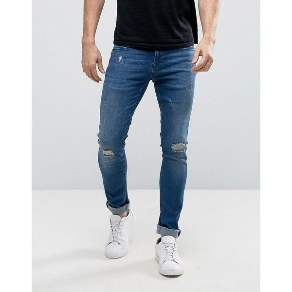 Redefined Rebel Skinny Fit Jeans in Dark Wash Blue With Distressing (2,485 DOP) ❤ liked on Polyvore featuring men's fashion, men's clothing, men's jeans, blue, mens super skinny ripped jeans, mens skinny fit jeans, mens destroyed jeans, mens skinny jeans and mens blue ripped jeans