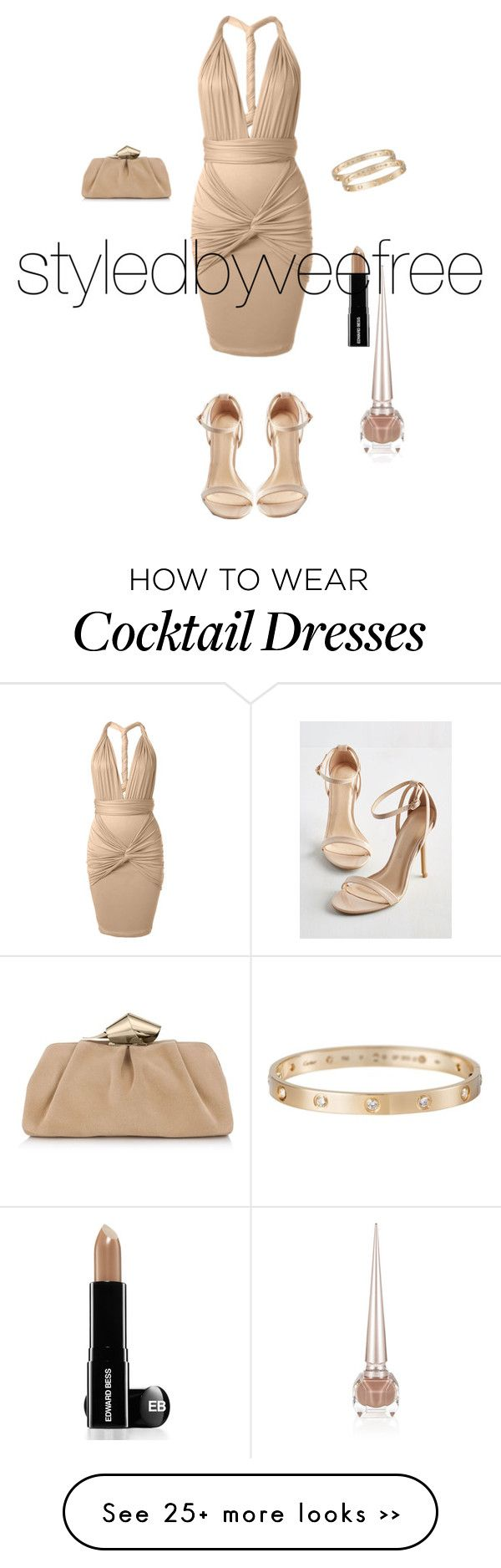"""Nude Cocktail Dress"" by styledbyveefree on Polyvore"
