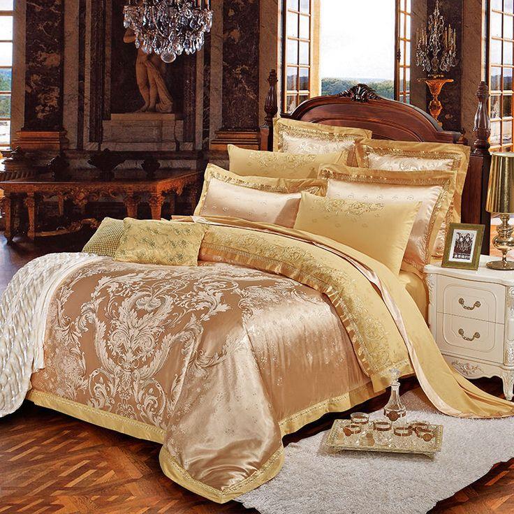 Sliver Golden Luxury Satin Jacquard Bedding Sets