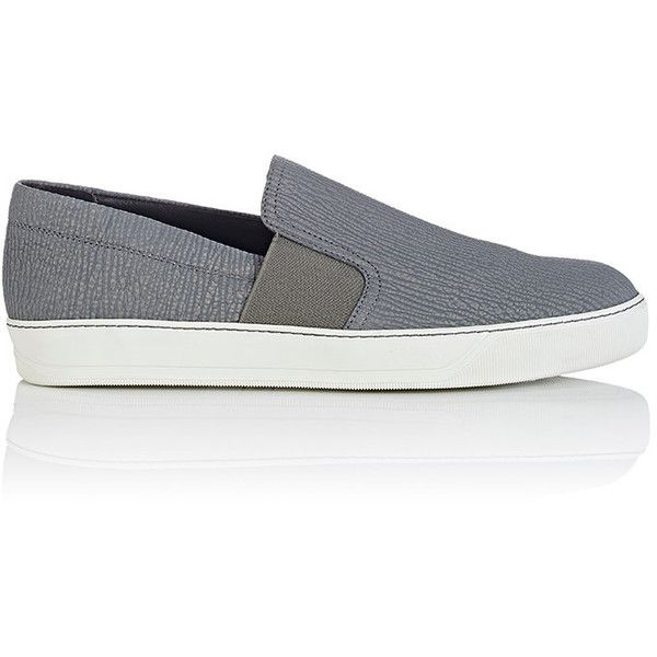 Lanvin Men's Slip-On Sneakers (13 120 UAH) ❤ liked on Polyvore featuring men's fashion, men's shoes, men's sneakers, grey, mens slipon shoes, mens sneakers, mens gray dress shoes, mens grey shoes and lanvin mens sneakers