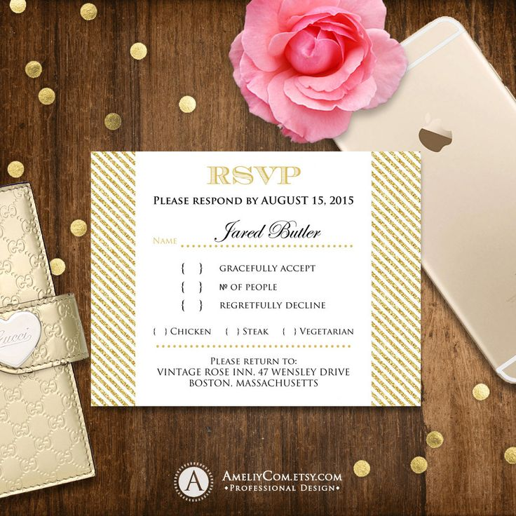 RSVP Card Printable - Glam Gold stripes - Instant Download Reply Card Digital EDITABLE Response Cards for Wedding, Birthday, Shower