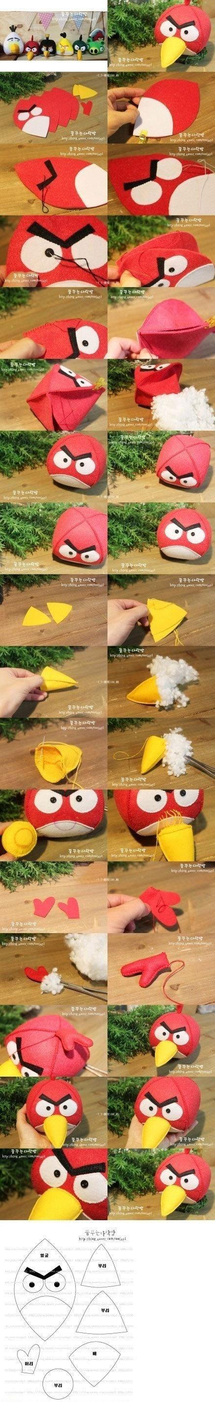 Pássaro com raiva, modelos não-tecidos tridimensionais bonecas.  So cute.  biu biu ~ ~ ~ [A bolas do grupo]