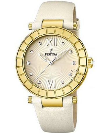 FESTINA Ladies Crystal Beige Leather Strap Τιμή: 124€ http://www.oroloi.gr/product_info.php?products_id=36402