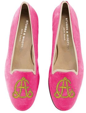 RECOMMEND: Monogrammed Stubbs & Wooton bespoke flats (in 3B color)