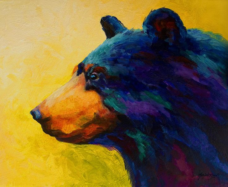 Looking On II - Black Bear Painting by Marion Rose - Looking On II - Black Bear Fine Art Prints and Posters for Sale