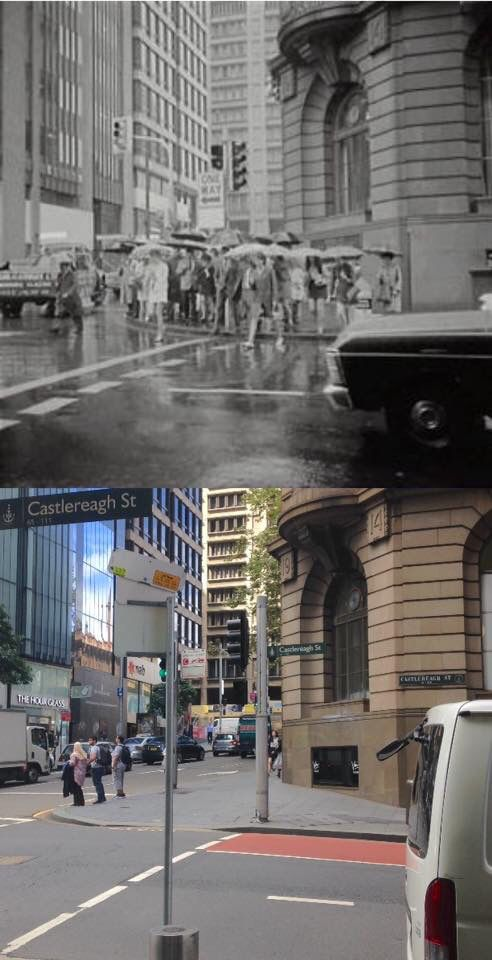 The corner of Castlereagh and King Streets, Sydney in 1969 and in 2016. [City of Sydney Archives>2016 - Phil Harvey. By Phil Harvey]