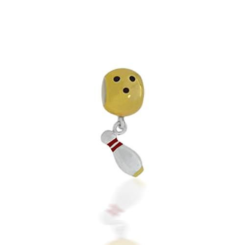 Gold Vermeil 925 Sterling Silver Bowling Sports Dangle Bead Pandora Compatible