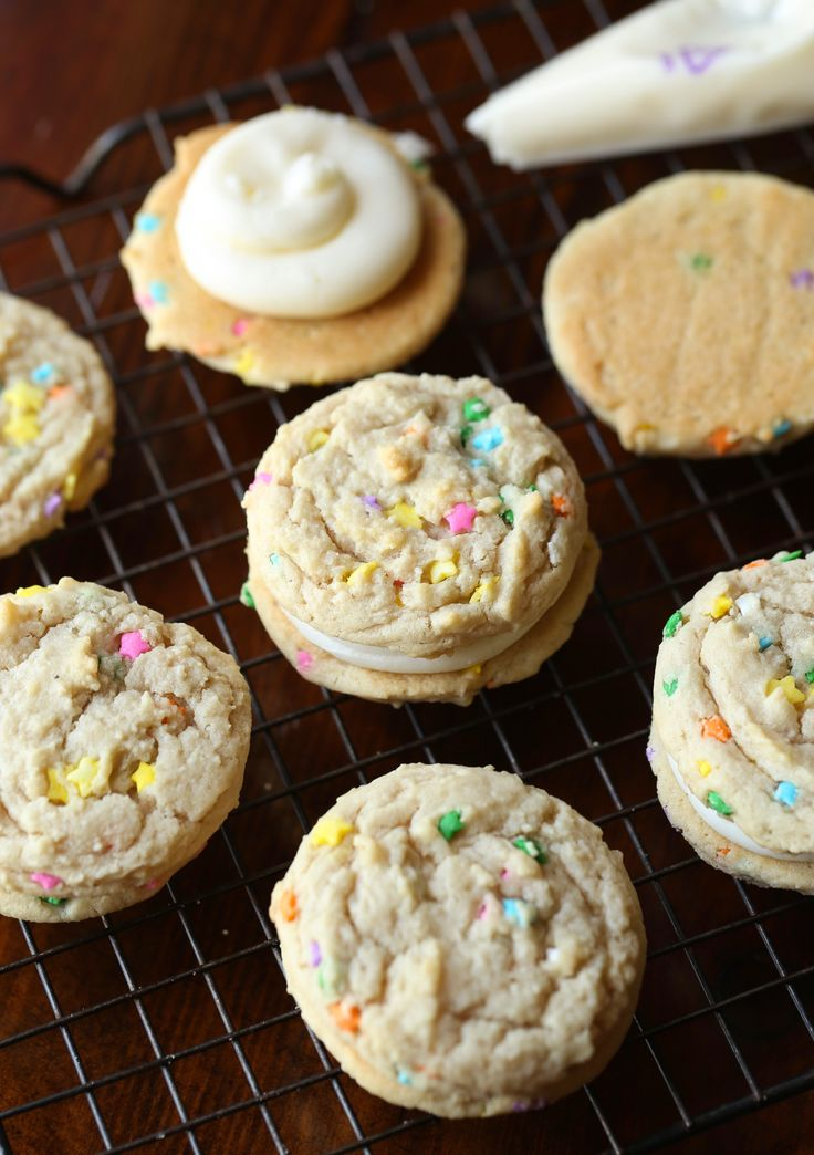 Sugar Cookie Double Doozie Cookie Sandwiches... chewy, sweet and loaded with sprinkles! from @cookiesandcups