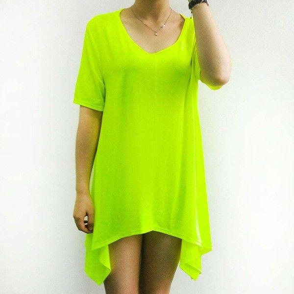 Women s Stylish Fluorescent Green Short Sleeve Asymmetrical T Shirt (€15) ❤ liked on Polyvore featuring tops, t-shirts, short sleeve tee, green t shirt, neon green top, green tee and short sleeve tops