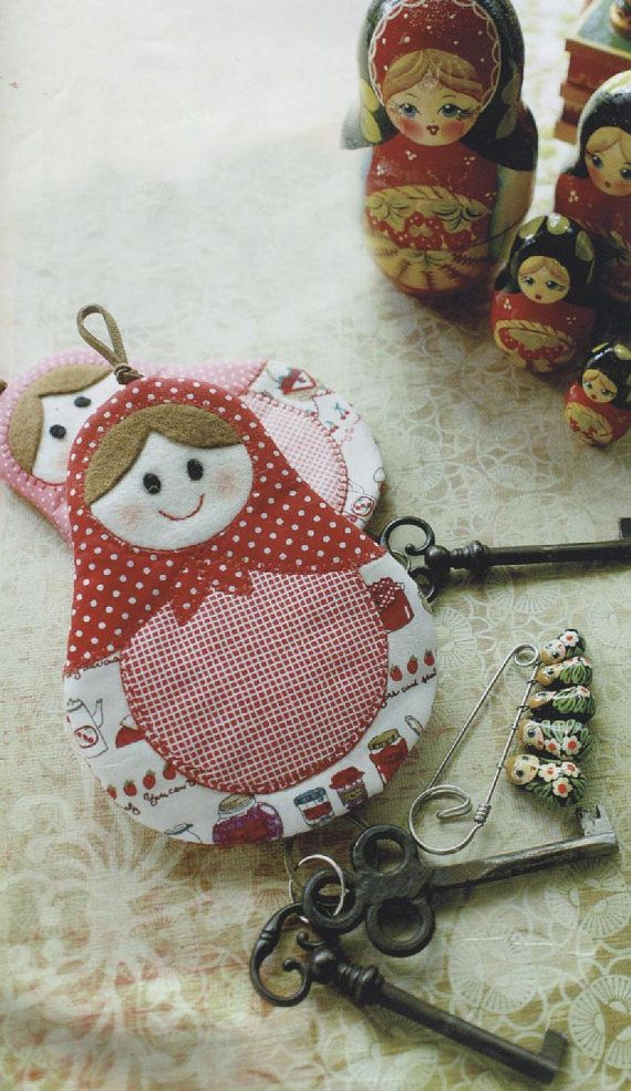 Russian Doll Matryoshka Girl key cover purse covering holder purse bag keep cotton sewing quilt applique patchwork art gift - APPLIQUE INSPIRATION
