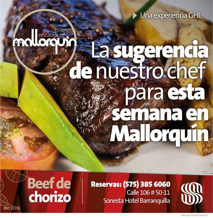 #lasugerenciadelchef Carlos A. García para esta semana por sólo $ 32.000: Beef de Chorizo a la parrilla con mantequilla de tomillo y mostaza, servido con papas fritas caceras y ensalada