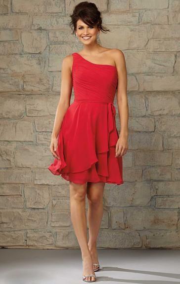 Beautiful Chiffon Red Bridesmaid Dresses BNNCA0012
