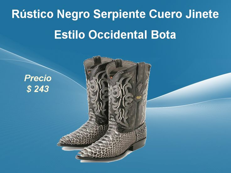 Rústico Negro Serpiente Cuero Jinete Estilo Occidental Bota