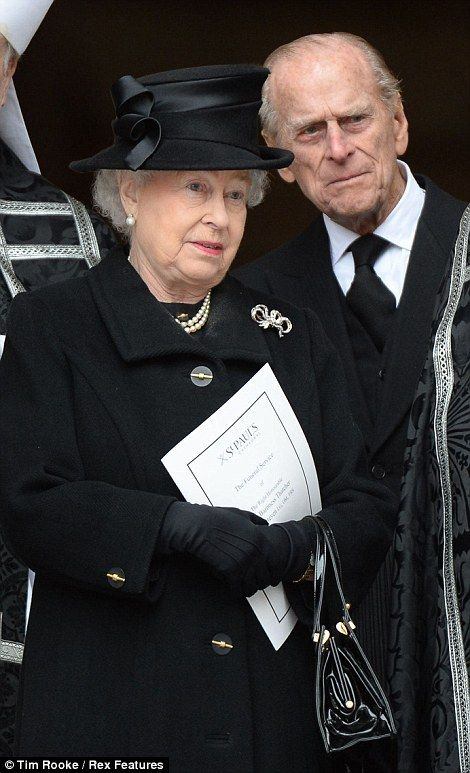 17 Apr 2013: Death of Margaret Thatcher. Queen Elizabeth II (Elizabeth Alexandra Mary) (1926-living2013) UK & Prince Phillip Duke of Edinburgh (Philip Mountbatten-born Prince Philip) (1921-living2013) Greece, after the funeral service of former British Prime Minister Margaret Thatcher. Source: Getty Images