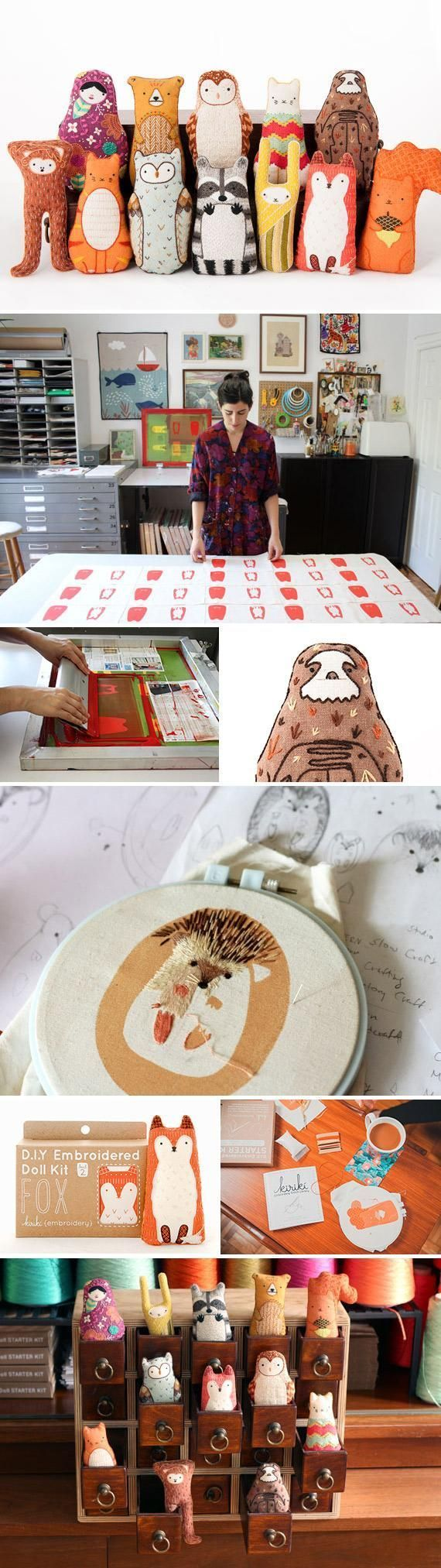 Forest Animal Frenzy!! Michelle Galletta of Etsy shop Kiriki Press dreamed up her animal doll embroidery kits when she needed to make an affordable gift for her niece and couldnt find a suitable pattern anywhere. Her printmaking background made the proje