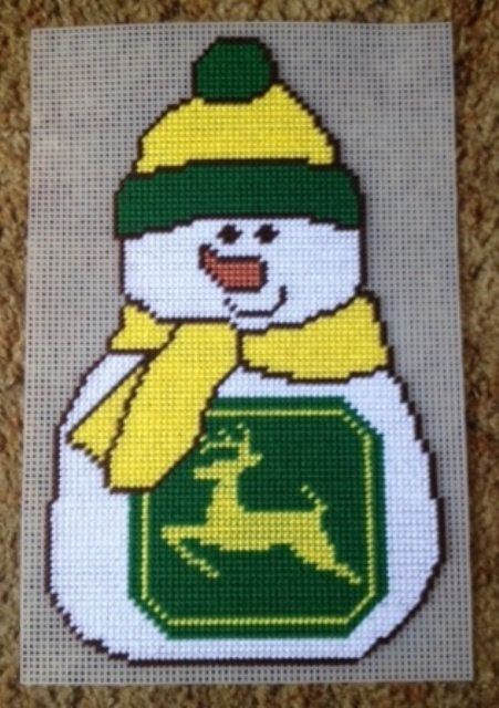 Green Tractor Snowman Plastic Canvas Pattern By