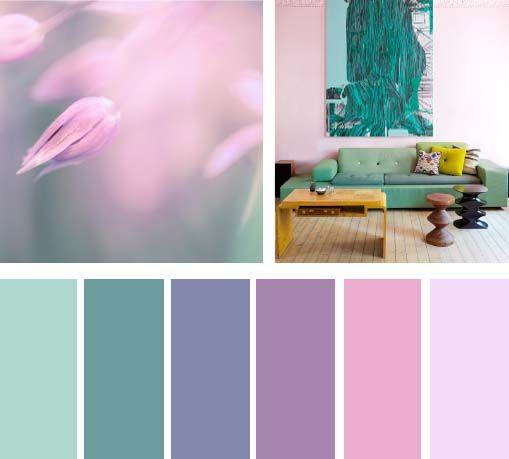 Colores lila y menta