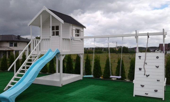 Plac Zabaw Domek Dla Dziecka Hustawka 7720381206 Oficjalne Archiwum Allegro Backyard Renovations Modern Backyard Backyard Playground