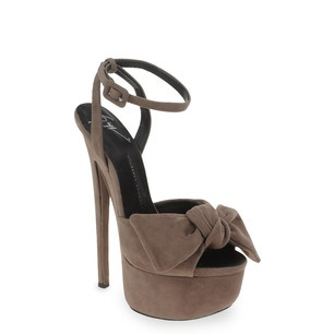 Giuseppe Zanotti Brown patent bow embellished platform sandals