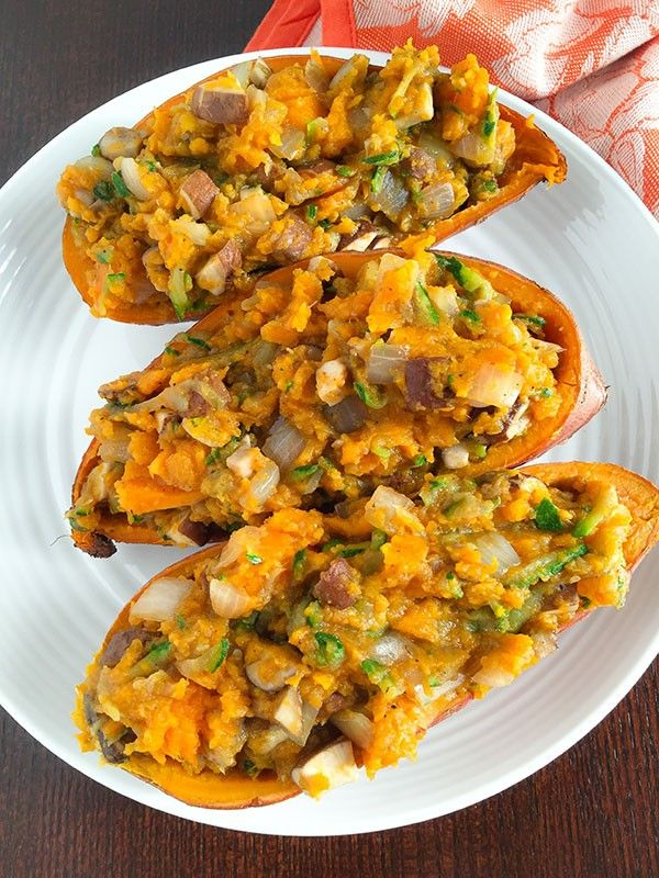 These loaded sweet potatoes are loaded with filling veggies! Shredded zucchini, mushrooms, and onions give this dish huge flavor and will fill you right up!