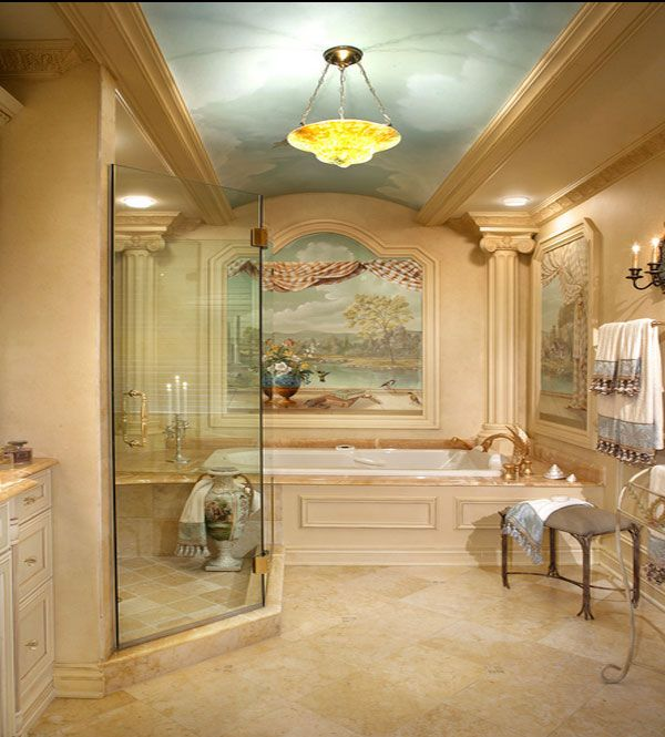 Kids Room, Luxury Bathroom Design With Built In Tub Decorated With Printed  Nature On Wall Surrounding And On Ceiling: Stunning Kids Room Sty.