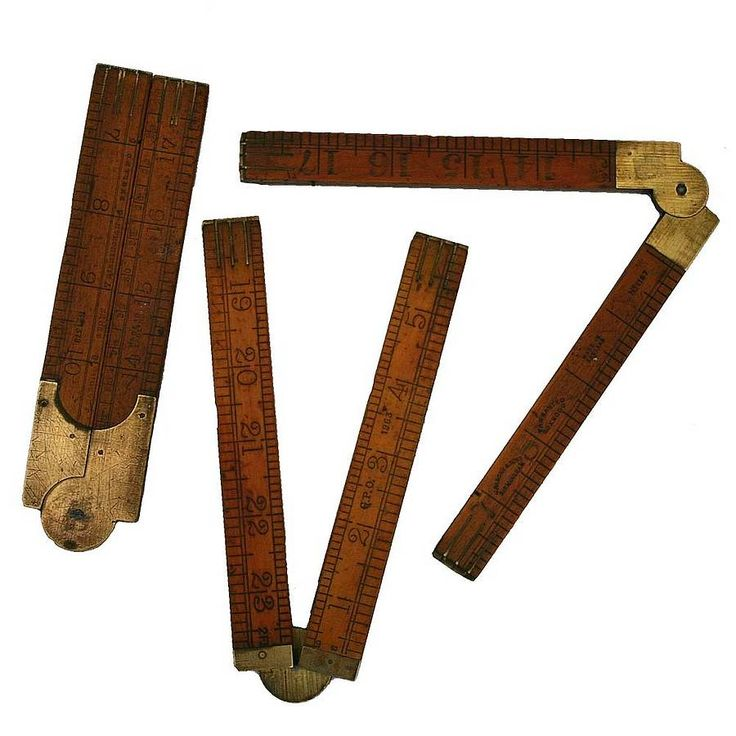 Vintage Wooden And Brass Folding Yard Rule