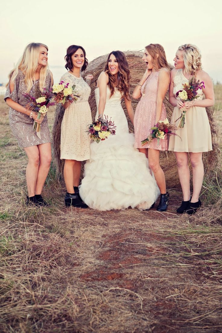 247 best wedding colors images on pinterest colors taupe pretty bridesmaids in mismatched dresses ombrellifo Choice Image