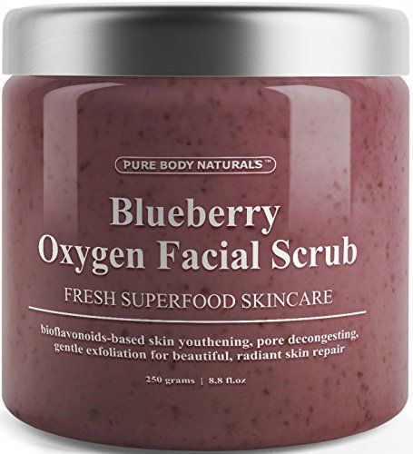 Blueberry Oxygen Facial Scrub - Loaded with Antioxidants for Facial Rejuvenation - Best Facial Scrub and Exfoliator for Skin Renewal and Anti-Aging - Expert Blend with Organic Ingredients (1 Pack) ** Click image for more details.