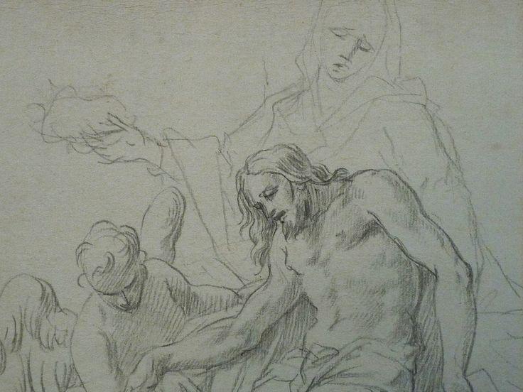 AVELLINO Anofrio - Le Christ mort soutenu par la Vierge et un Ange - drawing - Détail 10