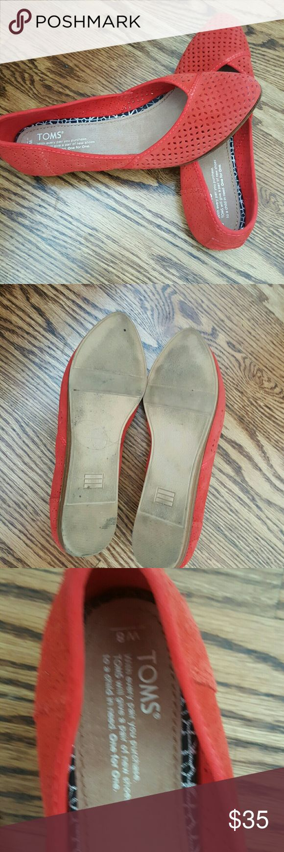 Toms Women's Flats Lightly worn. One seam tearing slightly - easy to fix.  Pretty red waffle style.  Very Comfy. TOMS Shoes Flats & Loafers