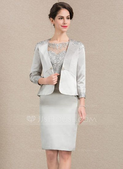fdda4623009c12 [US$ 120.00] Sheath/Column Scoop Neck Knee-Length Satin Lace Mother of the Bride  Dress