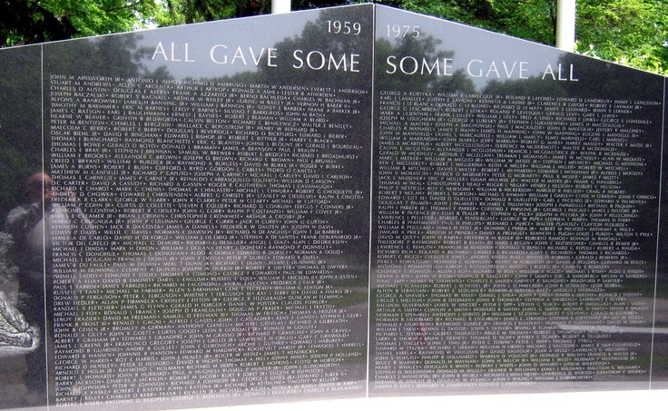 Many names are inscribed on the Vietnam Memorial